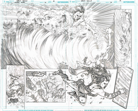 Sergio Davila Original Art Wonder Woman #3 Page 18-19 Double Page Spread