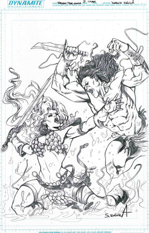 Sergio Davila Original Art Red Sonja Tarzan #3 Cover