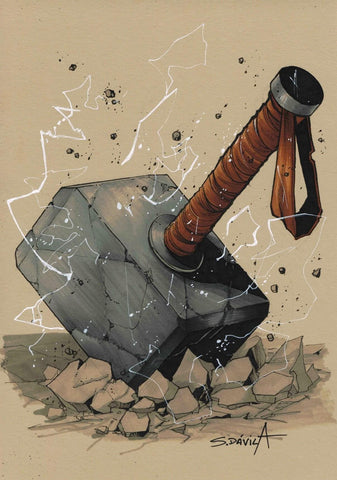 Sergio Davila Original Art Mjolnir Inktober Illustration