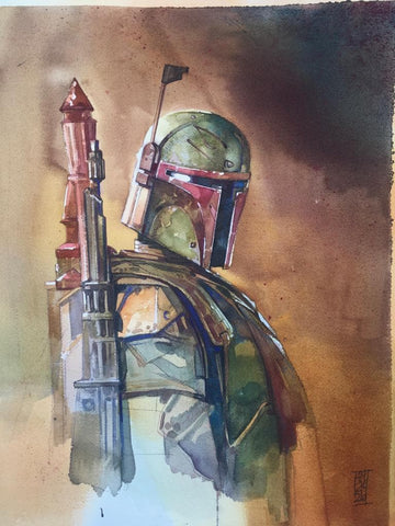 Alex Maleev Original Art Boba Fett Illustration 2