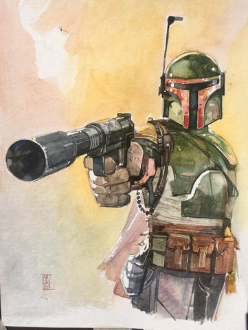 Alex Maleev Original Art Boba Fett Illustration 1