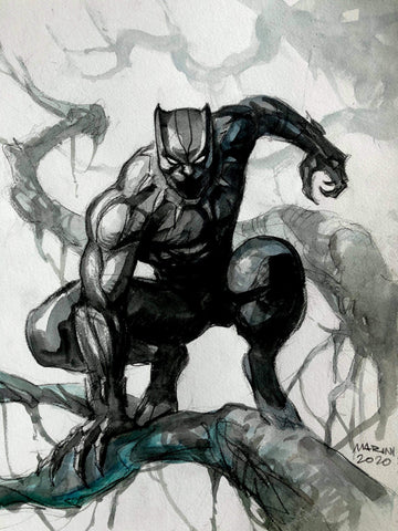 Enrico Marini Original Art Black Panther Illustration