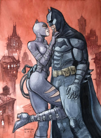 Enrico Marini Original Art Batman & Catwoman Cover Quality Illustration