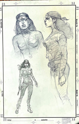 Alex Maleev Original Art Female Crow Concept Art