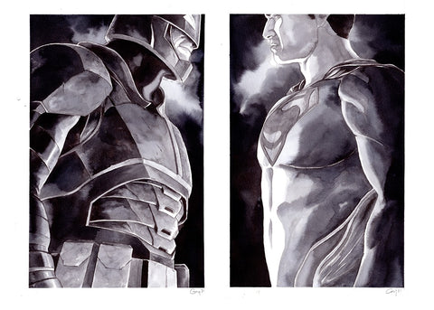 Guillaume Martinez Original Art Batman vs Superman Set Illustrations