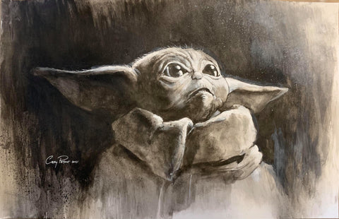 Casey Parsons Original Art Baby Yoda Illustration