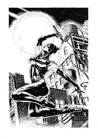 Riccardo Latina Original Art Catwoman Illustration