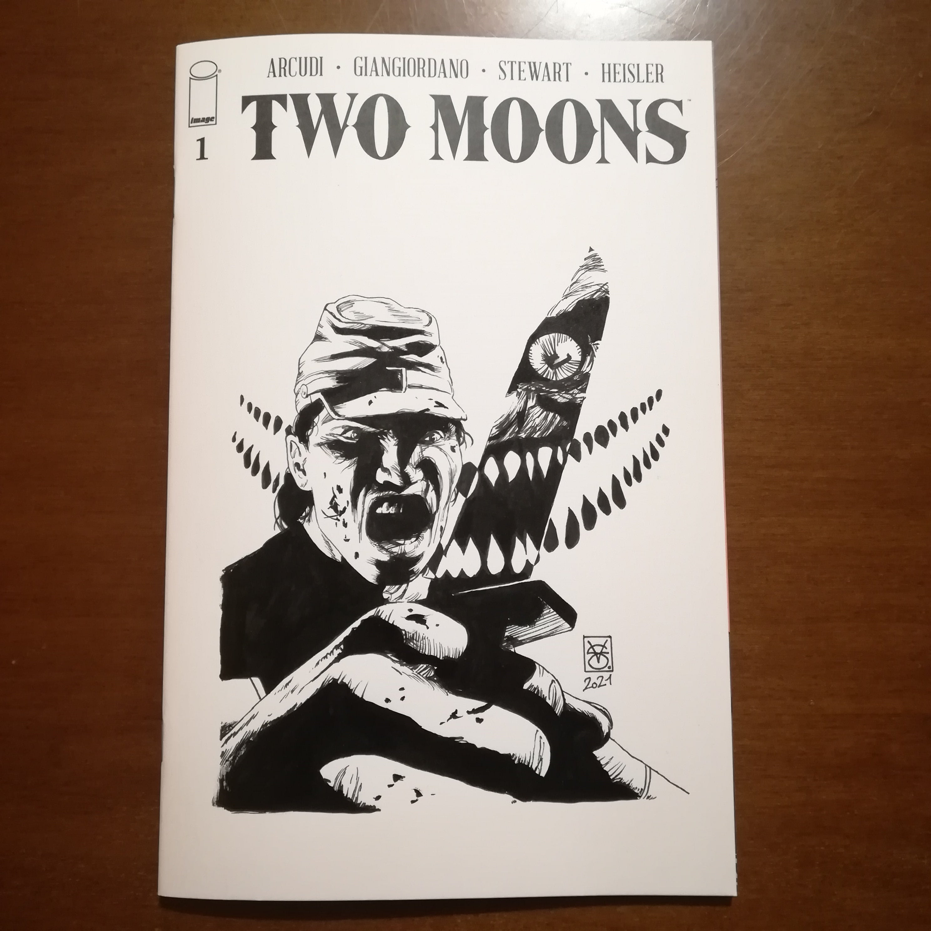Valerio Giangiordano Original Art Two Moons Blank Cover 3 Special Release Illustration