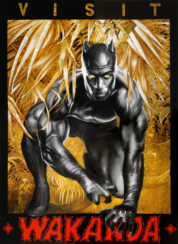 Fred Ian Original Art Black Panther Canvas Oil Painting