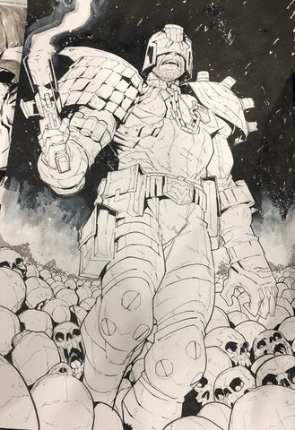 Jon Lam Original Art Judge Dredd Illustration
