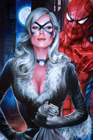 Fred Ian Original Art Black Cat & Spider-Man Canvas Oil Painting