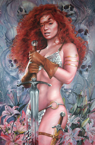 Fred Ian Original Art Red Sonja Canvas Oil Painting