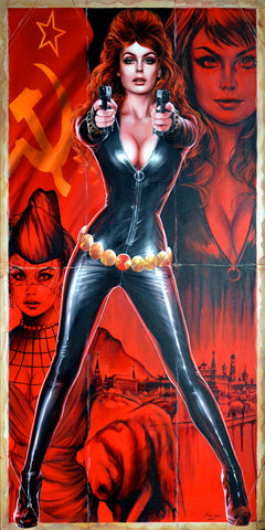 Fred Ian Original Art Black Widow Canvas Oil Painting