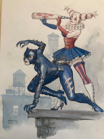 Enrico Marini Original Art Catwoman & Harley Quinn Illustration