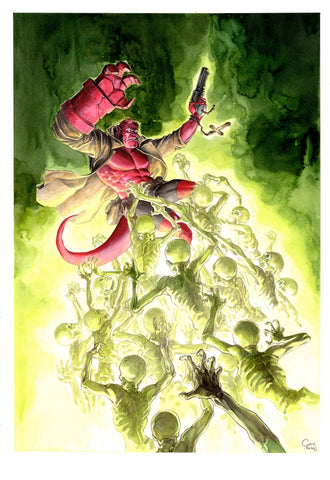 Guillaume Martinez Original Art Hellboy Painted Illustration