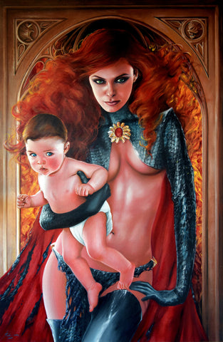 Fred Ian Original Art Goblin Queen Canvas Oil Painting