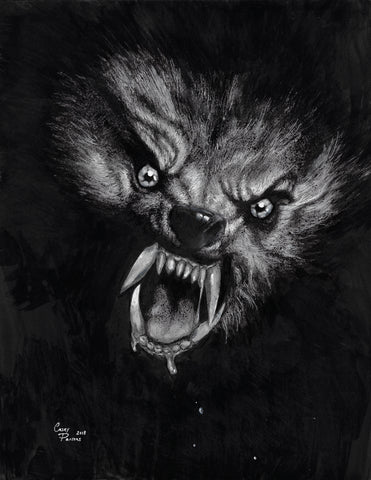 Casey Parsons Original Art Inktober Horror American Werewolf In London