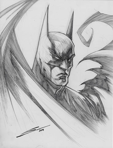 Gerardo Sandoval Original Art Batman Pencil Head Sketch Illustration