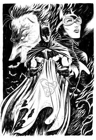 Jordi Tarragona Original Art Batman, Catwoman & Joker Illustration