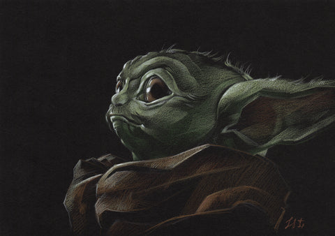 Stephanie Lavaud Original Art Baby Yoda Black Card Illustration