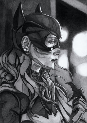 Ingrid Gala Original Art Batgirl Graphite Illustration