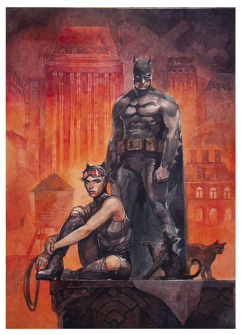 Alex Maleev Original Art Batman & Catwoman DC Official Print Painting