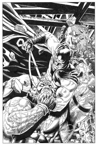 Riccardo Latina Original Art Batman Vs Bane Illustration
