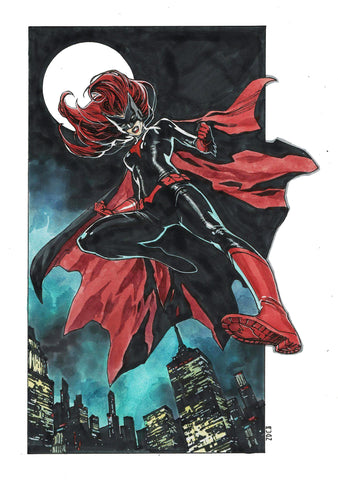 "Dike Ruan Original Art Batwoman 11x17"" Illustration"