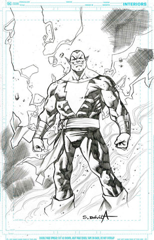 Sergio Davila Original Art Black Adam Illustration