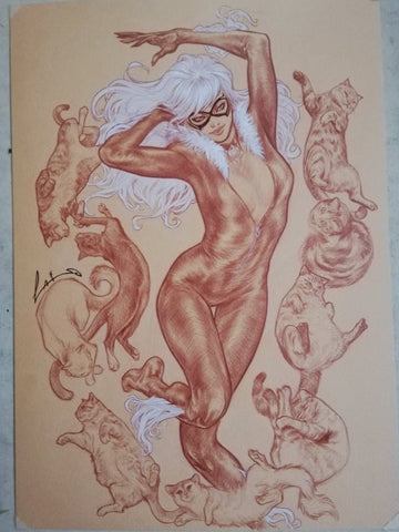 Emilio Laiso Original Art Black Cat Illustration