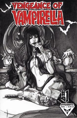 Ingrid Gala Original Art Vampirella Blank Cover Graphite Illustration