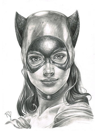 Pepe Valencia Original Art Catwoman Portraits Collection Illustration