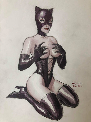 Enrico Marini Original Art Catwoman Elaborate Illustration