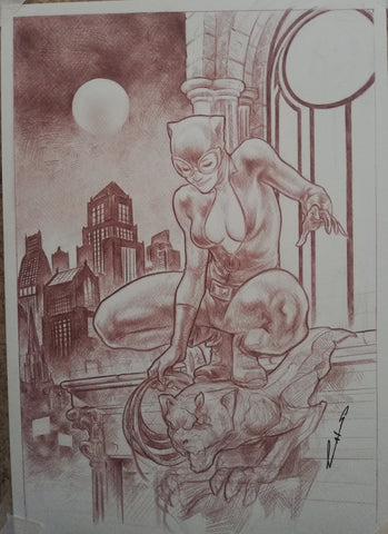 Emilio Laiso Original Art Catwoman Illustration