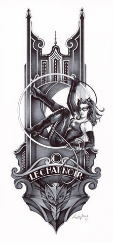 Stephanie Lavaud Original Art Catwoman Gotham Art Deco Collection