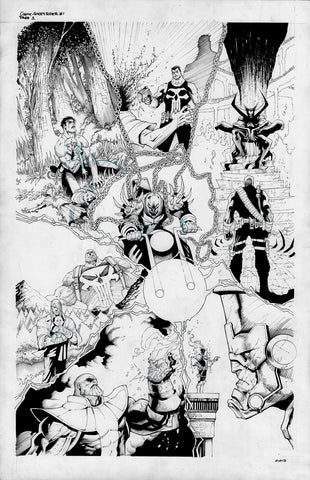 Gerardo Sandoval Original Art Cosmic Ghost Rider Destroys Marvel History #1 2nd Print Cover & Page 1