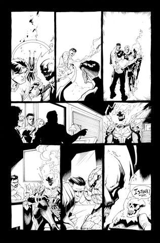 Victor Nava Original Art Inks Cosmic Ghost Rider Destroys Marvel History #1 Page 18