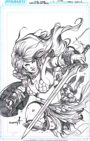 Sergio Davila Original Art Red Sonja Birth of the She Devil #7 Cover