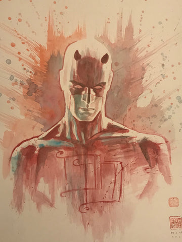 David Mack Original Art Daredevil Cover Study Illustration