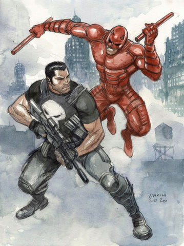 Enrico Marini Original Art Punisher vs Daredevil Cover Quality Illustration