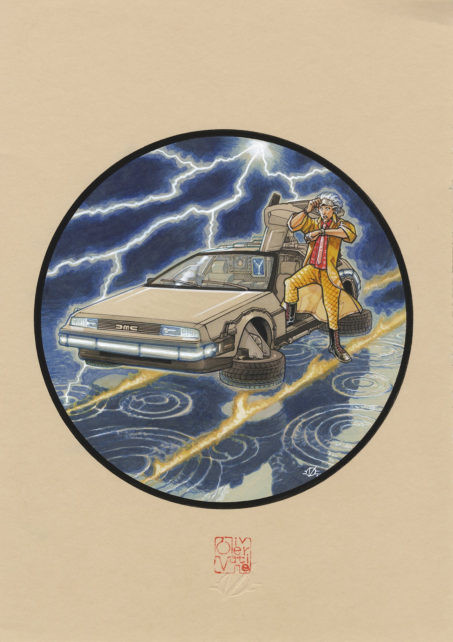 Olivier Vatine Original Art Back to the Future DMC DeLorean Cars Collection