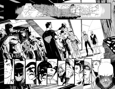 Javier Fernandez Original Art Justice League #25 Double Page Spread