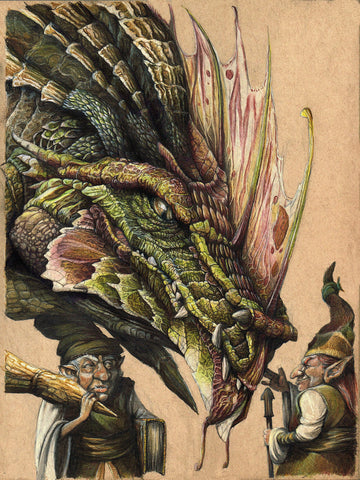 Pepe Valencia Original Art 'Dragon & Goblins' Colour Illustration