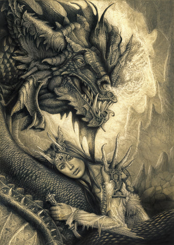 Pepe Valencia Original Art 'Lady Dragon' Graphite Illustration