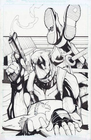 Gerardo Sandoval Original Art Deadpool Pulp Fiction Homage Illustration