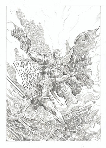 Vincenzo Riccardi Original Art Cable & Deadpool Sideshow Marvel Published Illustration