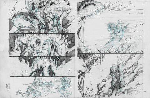 Gerardo Sandoval Original Art Deadpool #5 Page 8-9