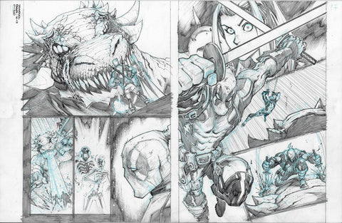 Gerardo Sandoval Original Art Deadpool #5 Page 16-17