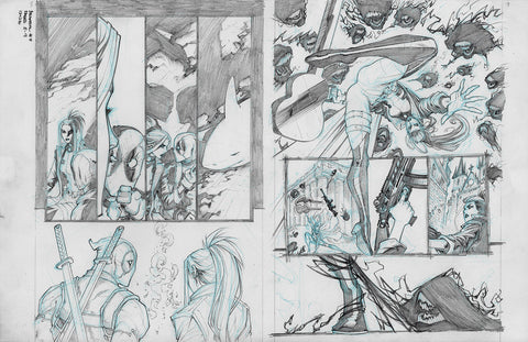 Gerardo Sandoval Original Art Deadpool #7 Page 8-9
