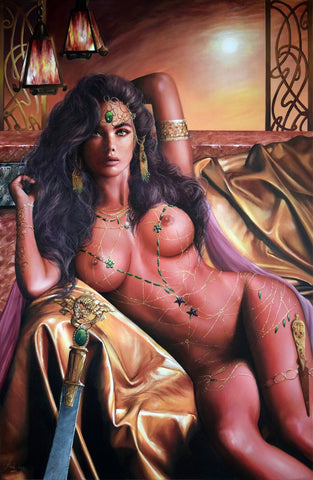 Fred Ian Original Art Dejah Thoris Canvas Oil Painting